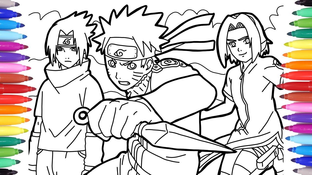 5 coloring pages with Naruto and Sasuke - Naruto Hokage de ...